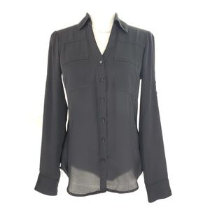 Express Black Button Up Blouse, Size XS
